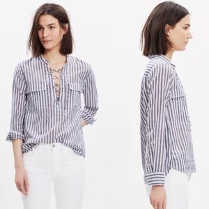 Madewell Striped Lace Up Top XS F110